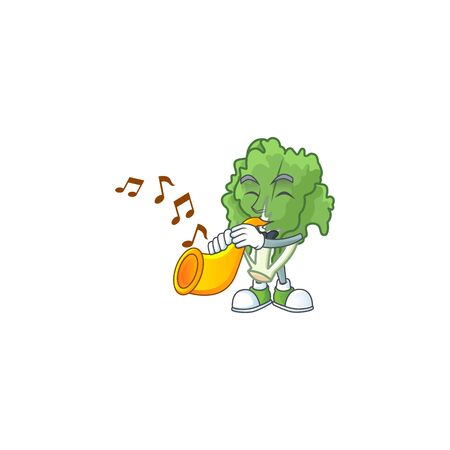 Cheerful endive cartoon character performance with trumpet