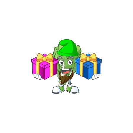 Cheerful endive cartoon design with Christmas gift boxes