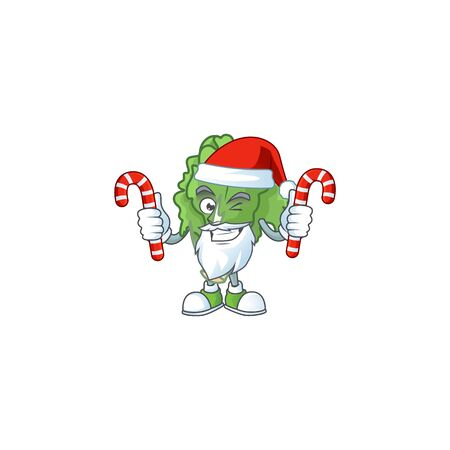 Endive Cartoon character in Santa Claus with candy