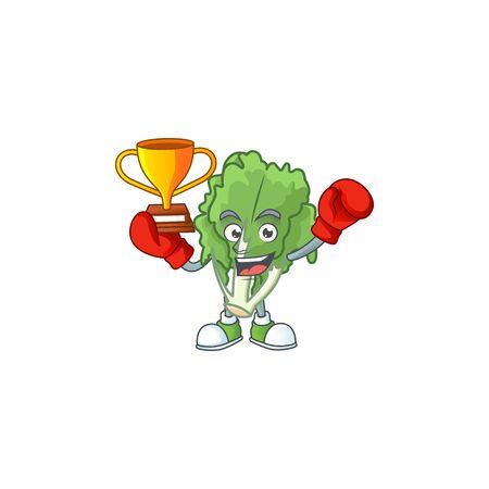 Super cool Boxing winner endive in mascot cartoon style