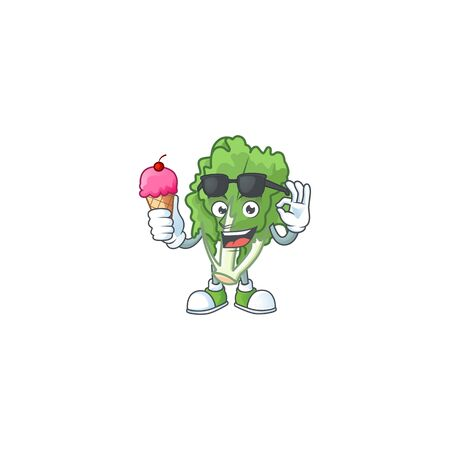 Cute endive cartoon character with ice cream