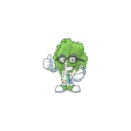 Cool Businessman endive cartoon character design style Stock Illustratie
