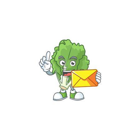 Cheerful endive cartoon mascot cartoon with envelope
