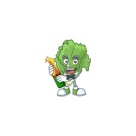 Happy endive with beer cartoon character design Stock Illustratie