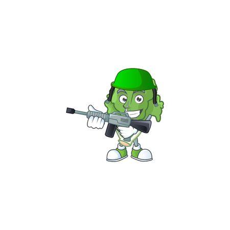 A mascot of endive as an Army with machine gun