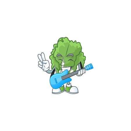 Cute and cool endive cartoon character performance with guitar
