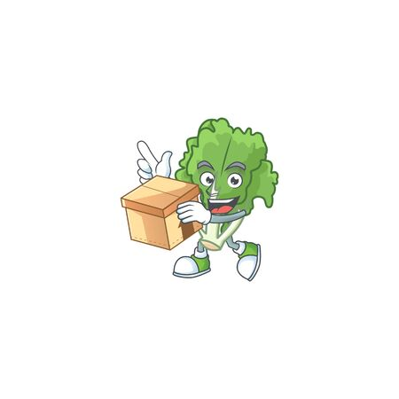 Cute endive cartoon character style holding a box