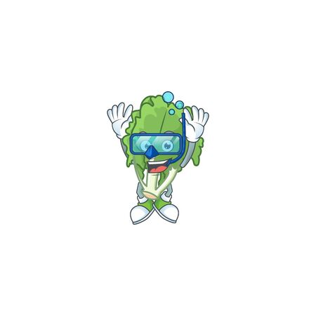 Funny endive mascot design with Diving glasses
