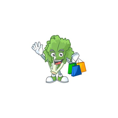 Cheerful endive mascot waving and holding Shopping bags
