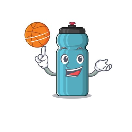 An icon of water bottle Scroll cartoon character playing basketball. Vector illustration