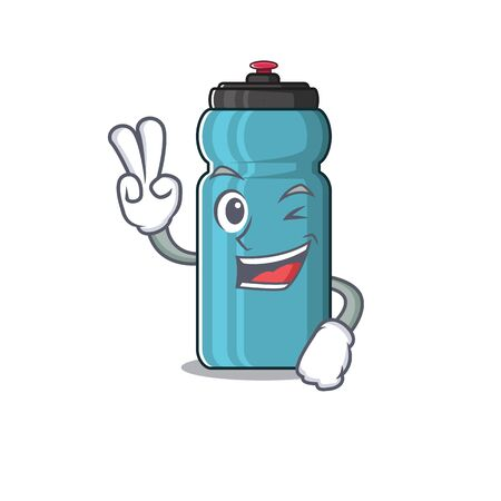 Funny water bottle Scroll cartoon Character with two fingers. Vector illustration