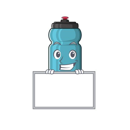 Water bottle Scroll cartoon character style grinning with board. Vector illustration Ilustração