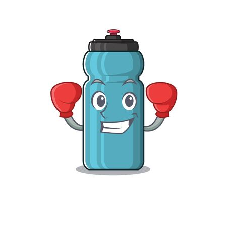 Happy Boxing water bottle Scroll mascot character style. Vector illustration Ilustração