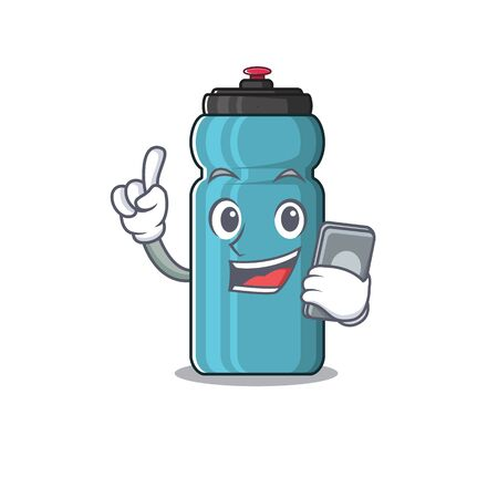 cartoon character of water bottle Scroll speaking with phone. Vector illustration