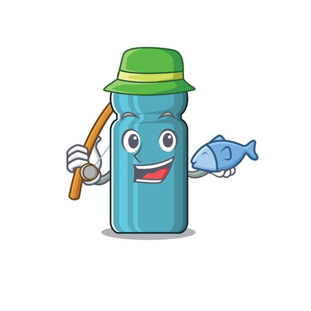 A Picture of funny Fishing water bottle Scroll design. Vector illustration 向量圖像