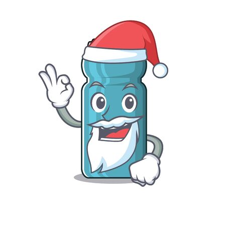 Santa water bottle Scroll cartoon character design with ok finger. Vector illustration 向量圖像
