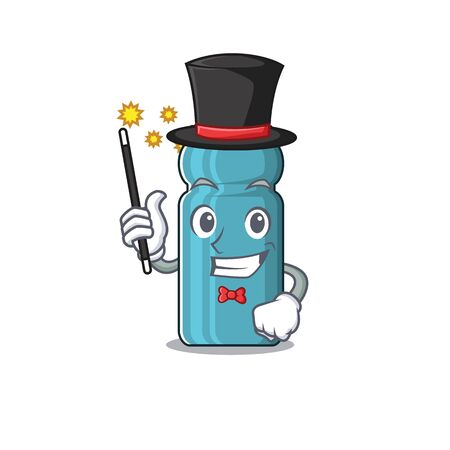 Mascot of water bottle Scroll performance as a Magician style. Vector illustration