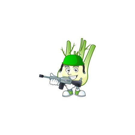 A mascot of fennel as an Army with machine gun