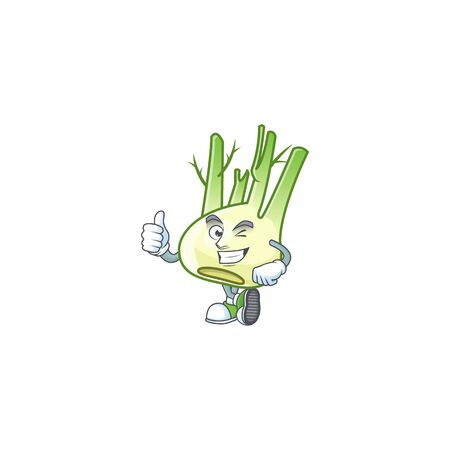 cartoon character of fennel making Thumbs up gesture