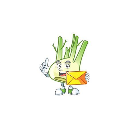 Cheerful fennel cartoon mascot cartoon with envelope
