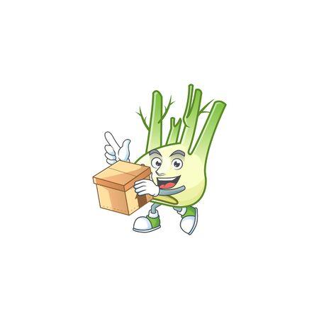 Cute fennel cartoon character style holding a box Ilustração