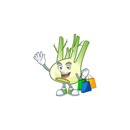 Cheerful fennel mascot waving and holding Shopping bags