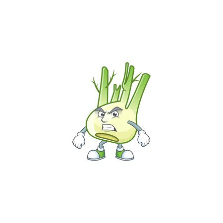 Picture of fennel cartoon character with angry face Ilustração