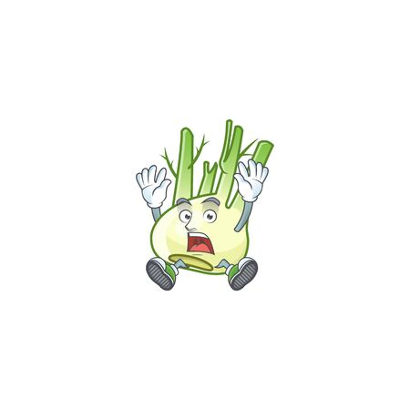 Cartoon character of fennel style with shocking gesture