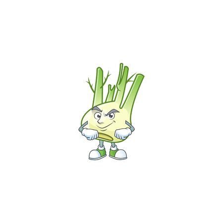 Fennel mascot cartoon character style with Smirking face