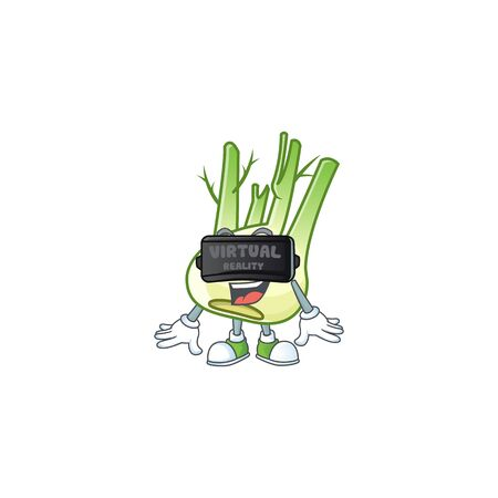 cool fennel character with Virtual reality headset
