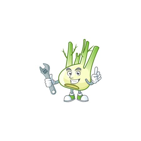 Smart and Professional Mechanic fennel cartoon character Ilustração