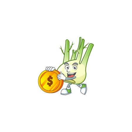 happy face fennel cartoon character with gold coin