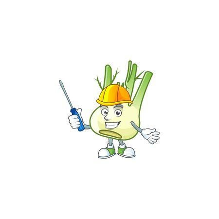 Cute and cool automotive fennel presented in mascot design Ilustração
