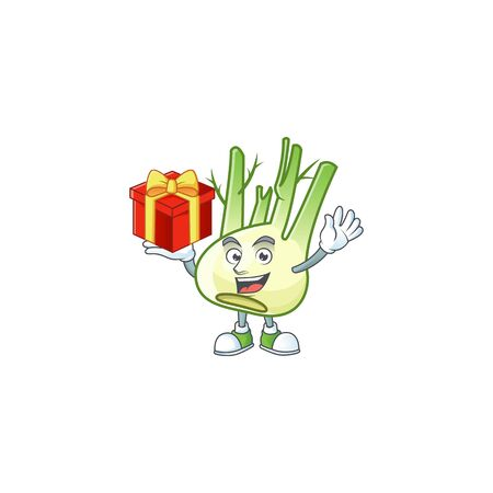 Fennel cartoon character with a box of gift Ilustração