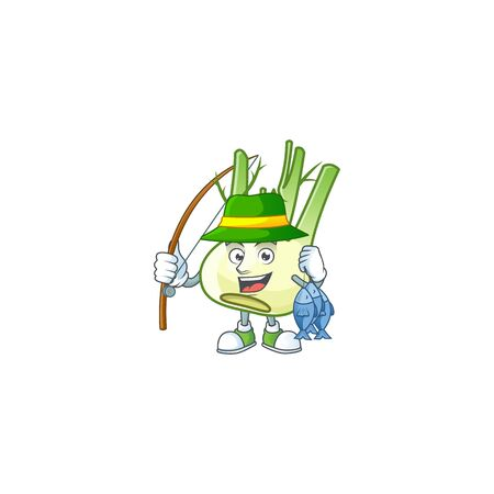 Cheerful face Fishing fennel mascot design style