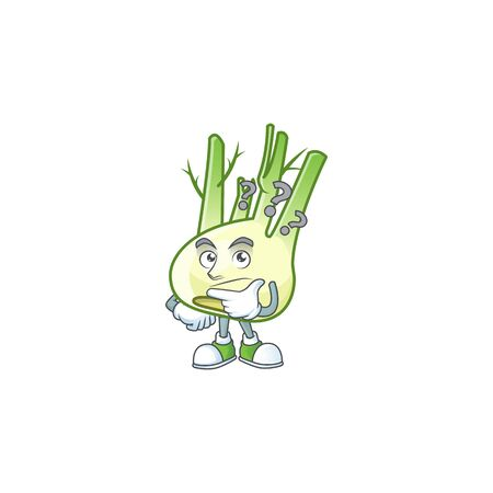 cartoon character of fennel with confuse gesture