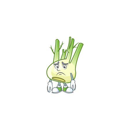 Afraid fennel Cartoon character mascot design style
