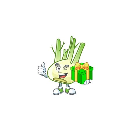 cartoon character of happy fennel with gift box Ilustração