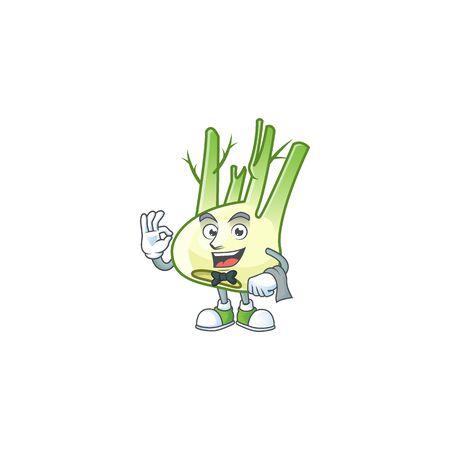 Fennel cartoon character as a Waiter look
