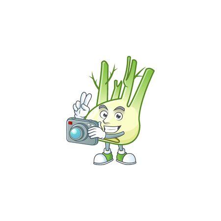 Smart Photographer fennel cartoon mascot with a camera