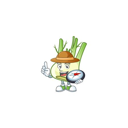 Cool Explorer fennel cartoon character with a compass