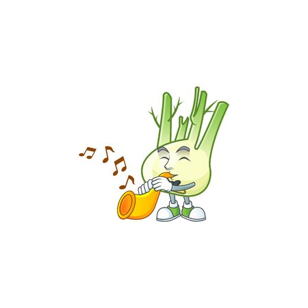 Cheerful fennel cartoon character performance with trumpet