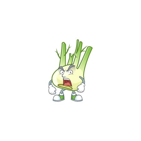 angry face of fennel cartoon character style