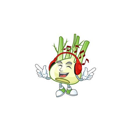 Singing and Listening music fennel cartoon character. Vector illustration