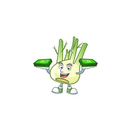 Happy face fennel character with money on hand. Vector illustration Ilustração