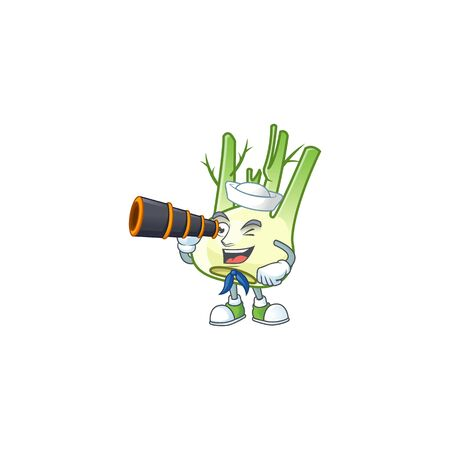 Picture of Smiling happy Sailor fennel with binocular. Vector illustration