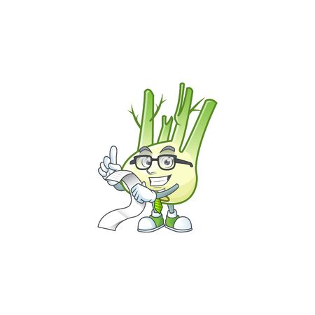Funny face fennel cartoon with menu ready to serve. Vector illustration