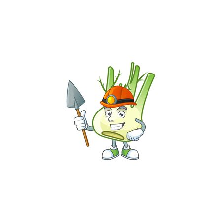 Cool Miner fennel cartoon character design style. Vector illustration