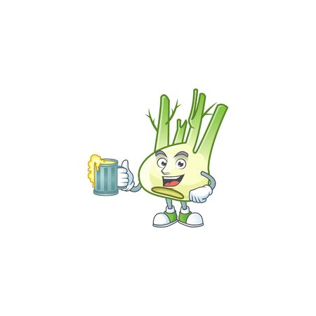 Happy face fennel with a glass of beer. Vector illustration