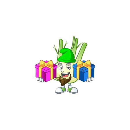 Cheerful fennel cartoon design with Christmas gift boxes. Vector illustration